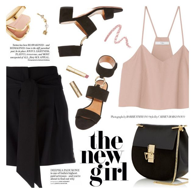 """The New Girl"" by pokadoll ❤ liked on Polyvore featuring IRO, TIBI, Aquazzura, Bobbi Brown Cosmetics, Stila, Chloé, Dolce&Gabbana, Valentino, polyvoreeditorial and polyvoreset"
