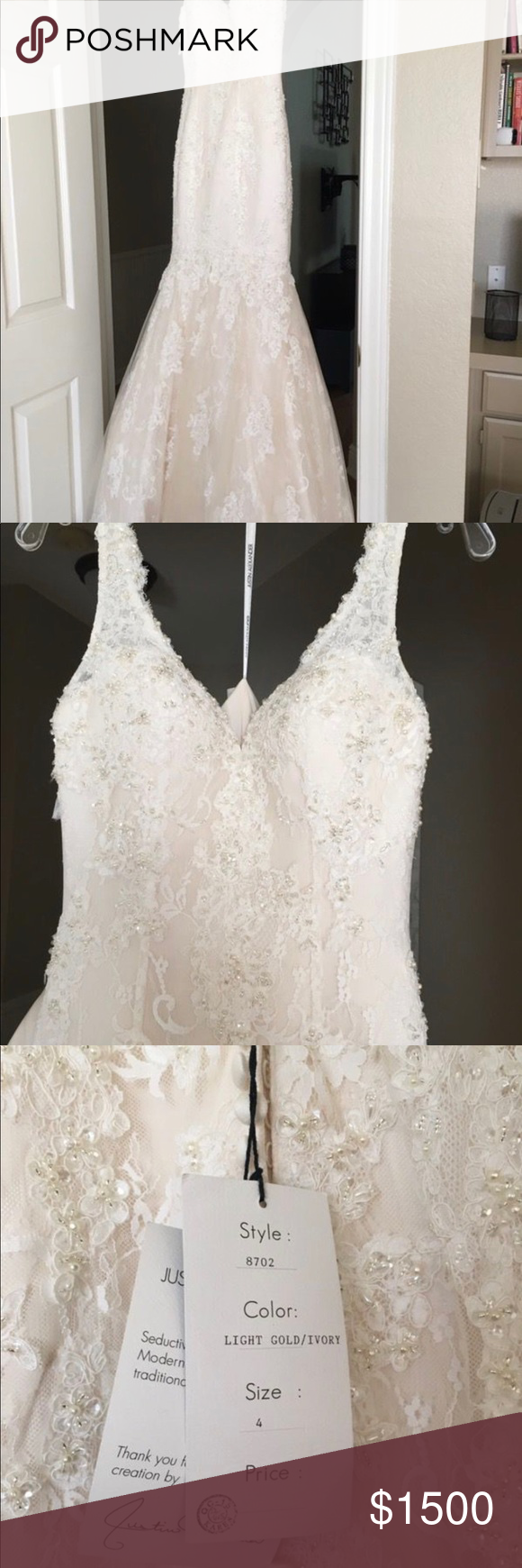Justin alexander wedding dress boutique beaded lace champagne and