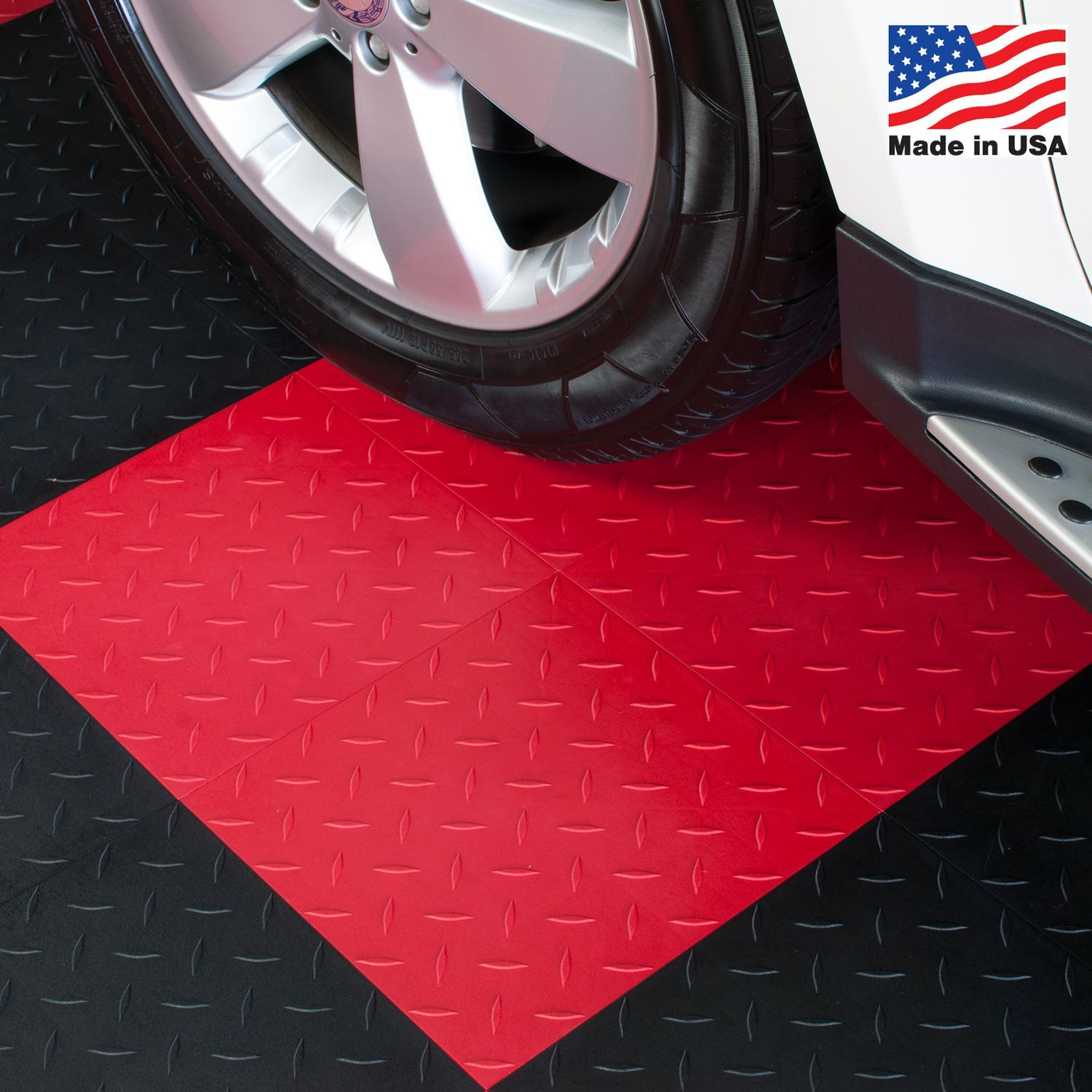 Blocktile garage flooring interlocking diamond top tiles pack of combining form and function this set of interlocking floor tiles is available in varying colors dailygadgetfo Image collections