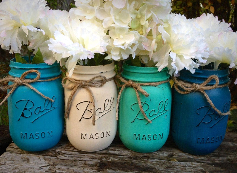 Wedding Mason Jars Painted Centerpieces Shabby
