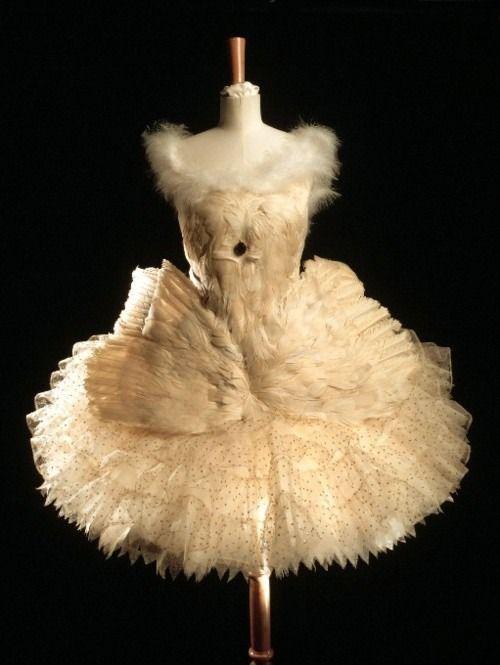 Ballet Costume Léon Bakst. 1900's. Sequins, goose feathers & white net.