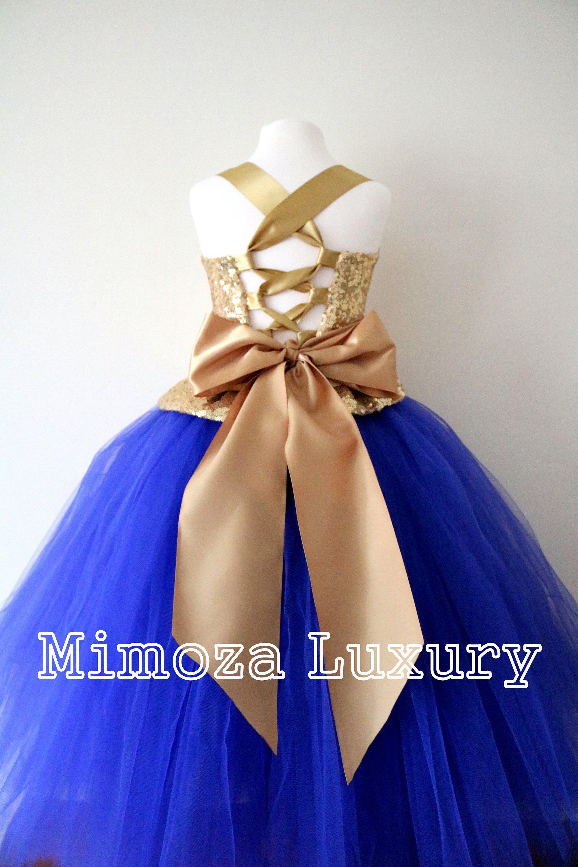 Gold u royal blue flower girl dress gold bridesmaid dress gold