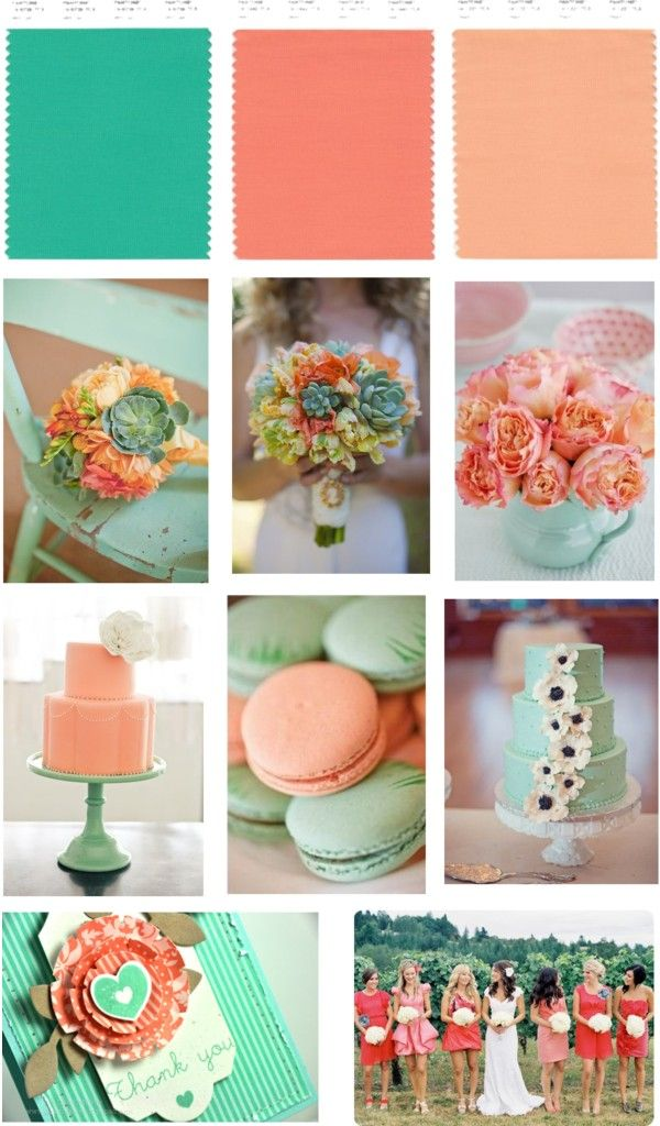 What Colors Match With Green sea foam green, coral and peach wedding - love the colors together