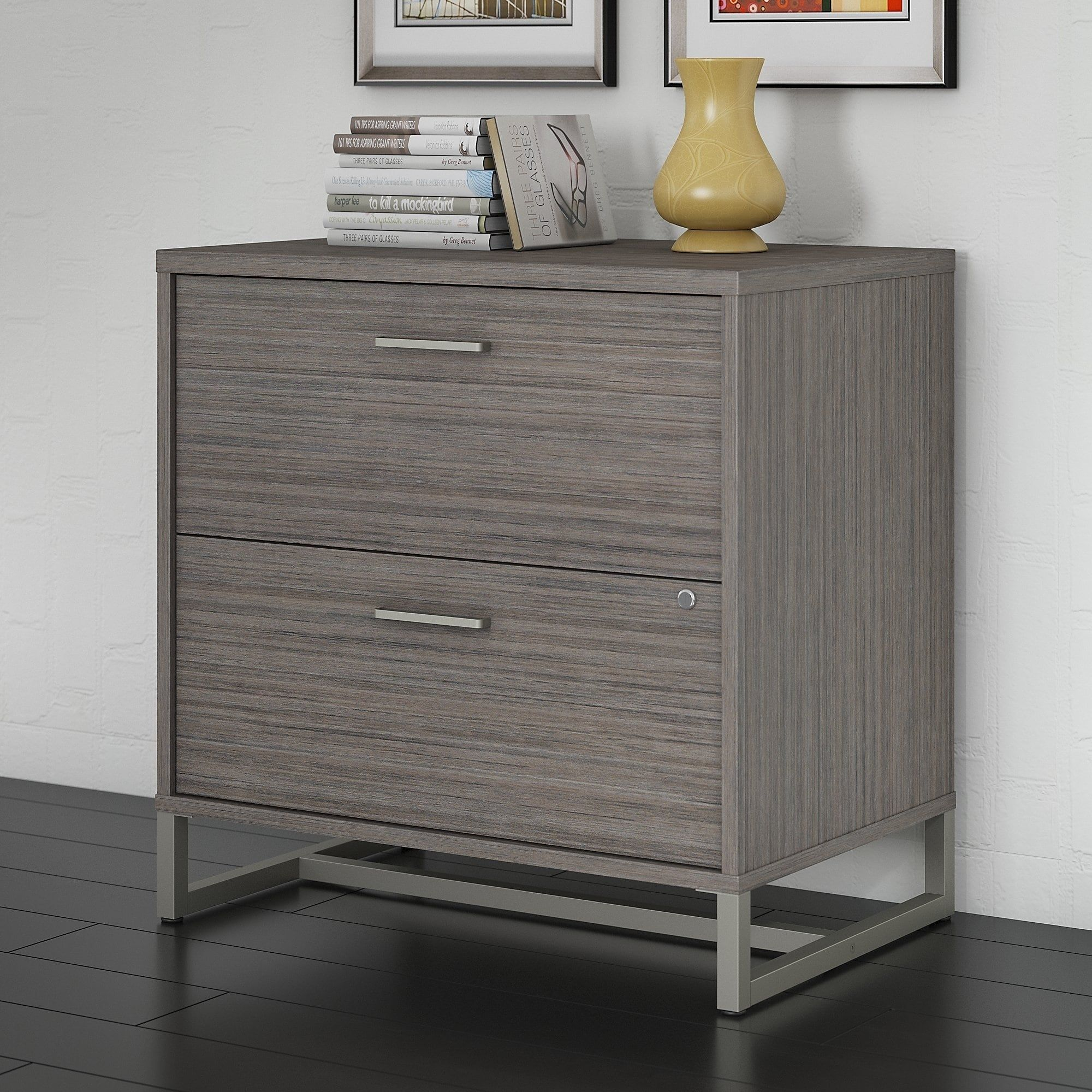 Bush Industries Office By Kathy Ireland Method Assembled Lateral File  Cabinet, Brown, Size Legal