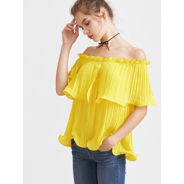 e154acacc2f2b Yellow Frilled Pleated Off The Shoulder Top ( 16) ❤ liked on Polyvore  featuring tops