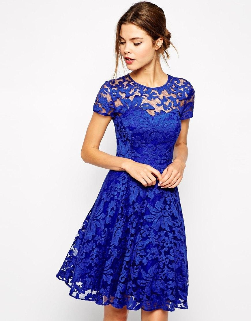 Ted Baker | Ted Baker Lace Dress with Sheer Floral Overlay at ASOS ...