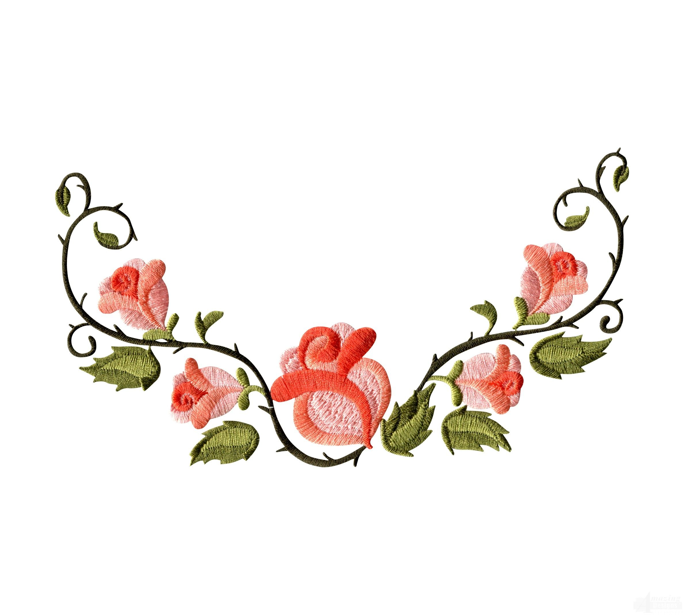 Rose floral border embroidery design foodies
