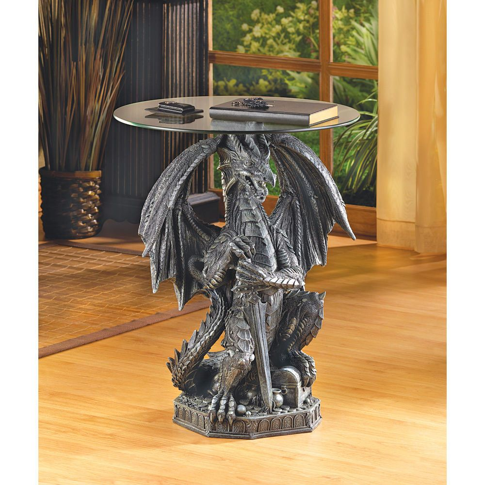 Guarding Dragon Accent Table Magical Mythical Creature Home Decor