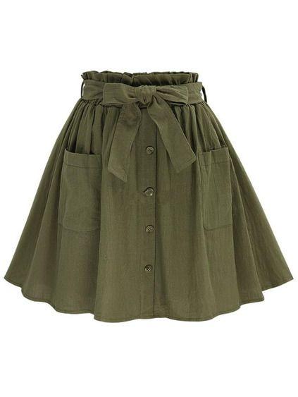e9deca411a Falda con vuelo botones cintura con lazo - verde oliva