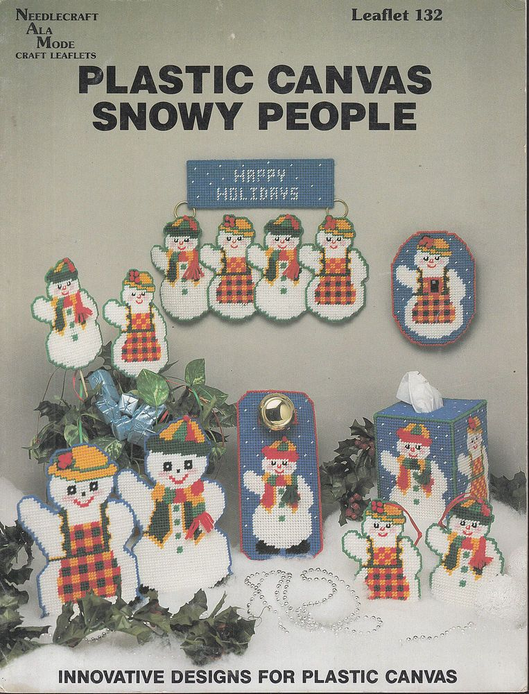Plastic Canvas Snowy People by Needlecraft Ala Mode Plastic Canvas Leaflet 132 #NeedlecraftAlaMode