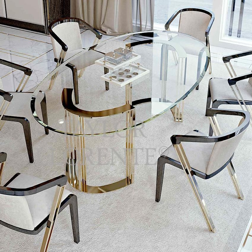 Architectural 24ct Gold Dining Table Created With Metal Frame Finished In 24ct Gold Can Also Be Finished In Dining Table Gold Gold Dining Gold Dining Chairs