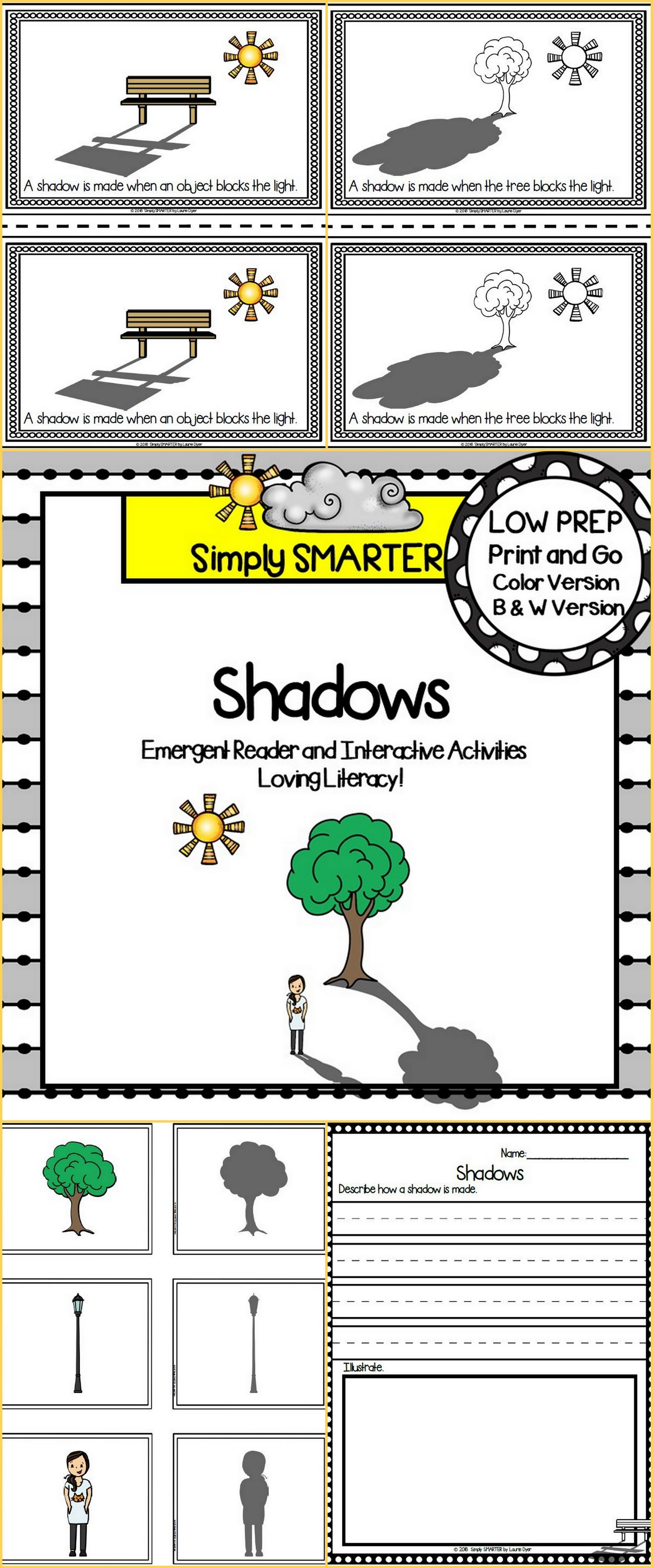 Shadows Emergent Reader Book And Interactive Activities