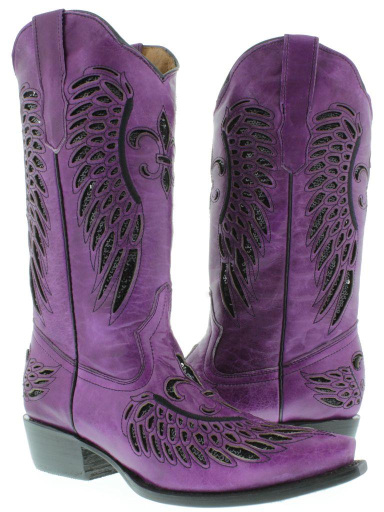 Purple Cowboy Boots | Women\'s Ladies Purple Leather Sequins Cowboy ...