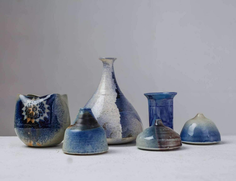 Franco Agnese Set of Six Ceramic Vases in Blue, France, 1960s 2