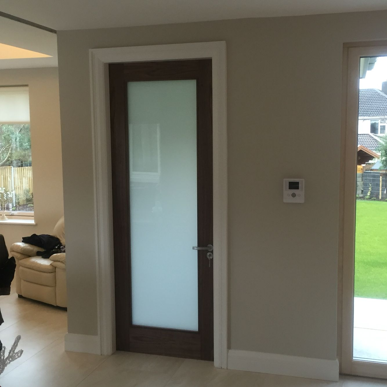 Walnut Internal Door With Frosted Glass Versatility Of Sliding