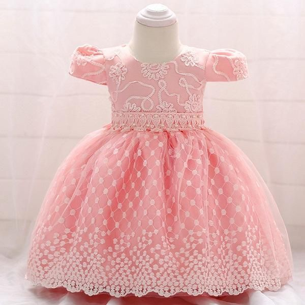 a6fa8c30d526 Flower Embroidered Baby Girls Dress For Wedding Party Infant Baby Dresses  For 1 Yrs Toddler Girl Birthday Baptism Cloth