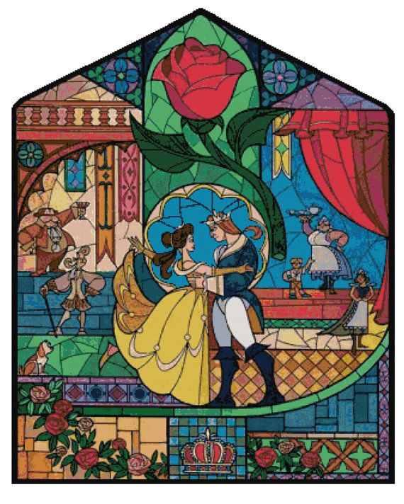 Cross Stitch Pattern Disney Beauty And The Beast Stained