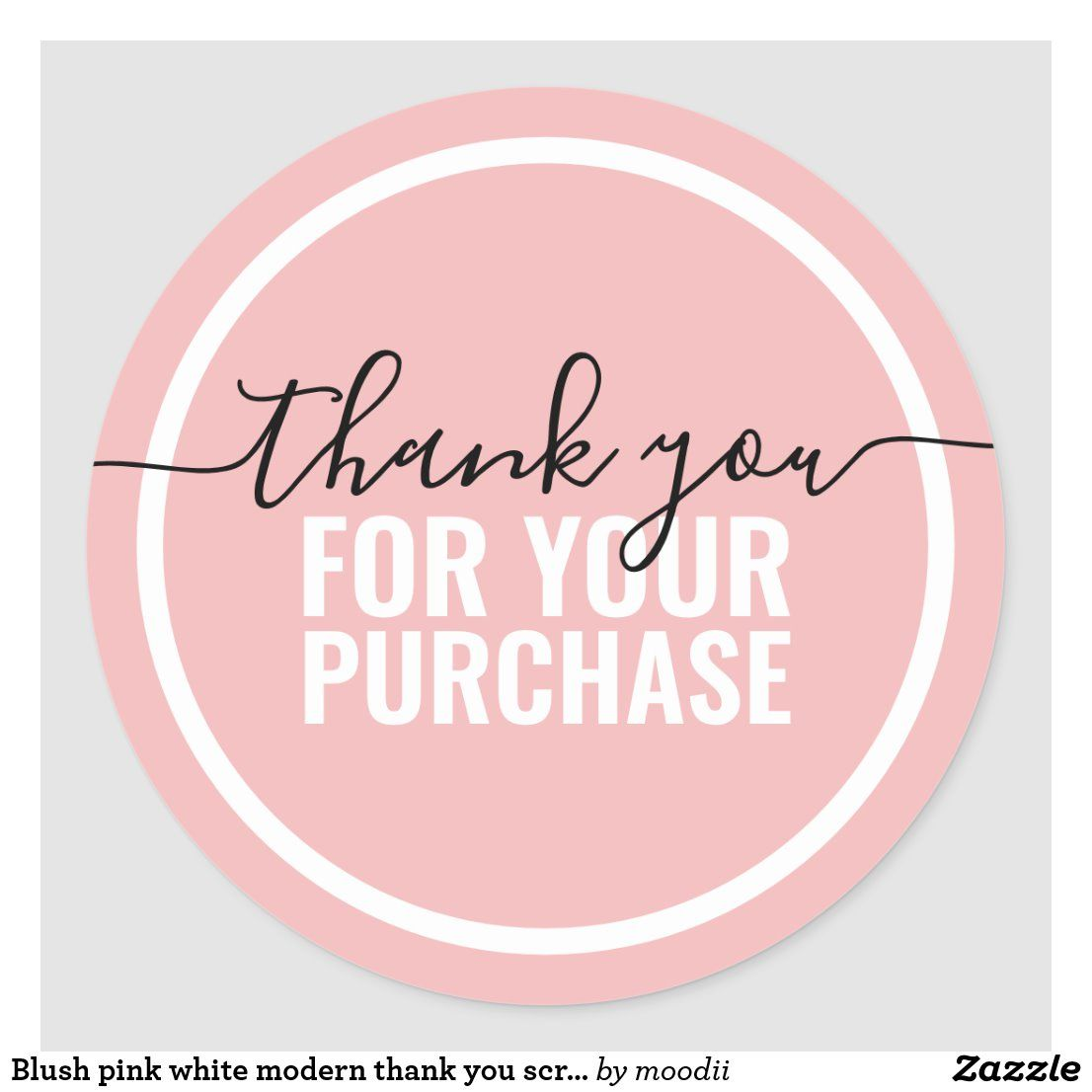 Blush pink white modern thank you script packaging classic