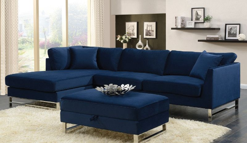2 Pc Seaview Navy Blue Fabric Upholstered Sectional Sofa With Chaise Blue Couch Living Room Sectional Sofa With Chaise Blue Couch Living