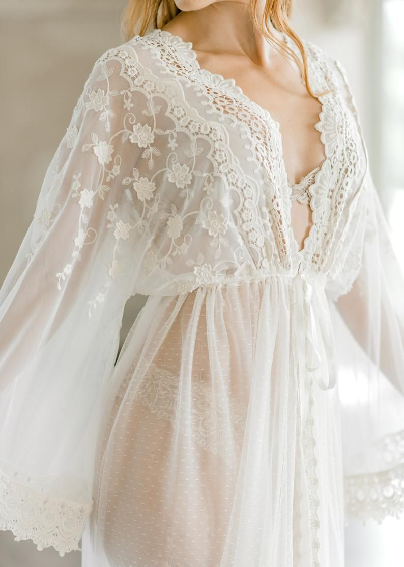 Photo of VINTAGE LACE BRIDAL robe for wedding day, boudoir photo shoot, lingerie for your wedding night, maternity photo shoot, honeymoon lingerie