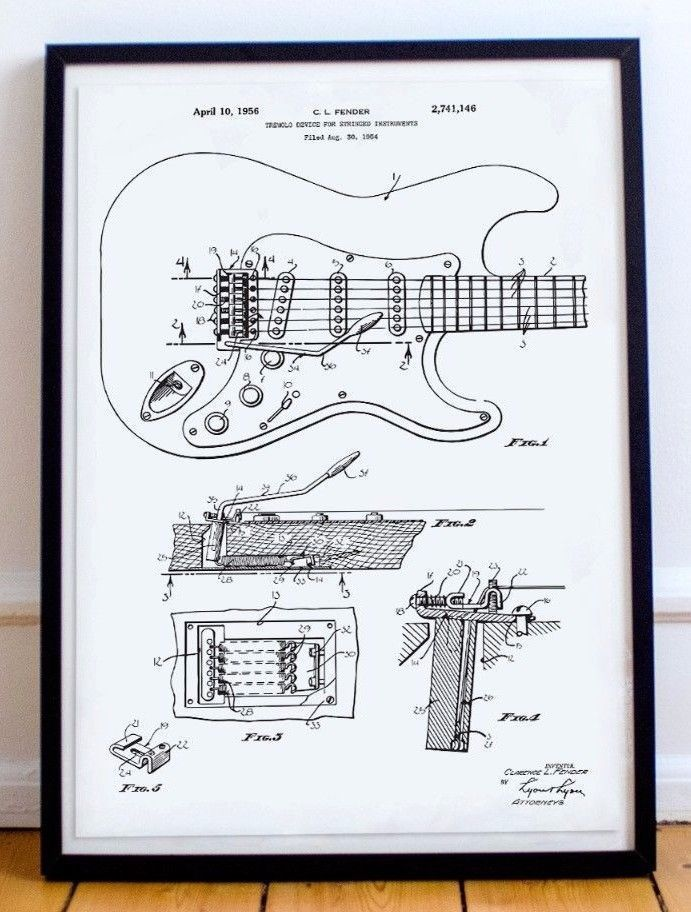 Fender Guitar Poster   Wall Art   Print   Art - Patent Patent Art - copy plane blueprint wall art