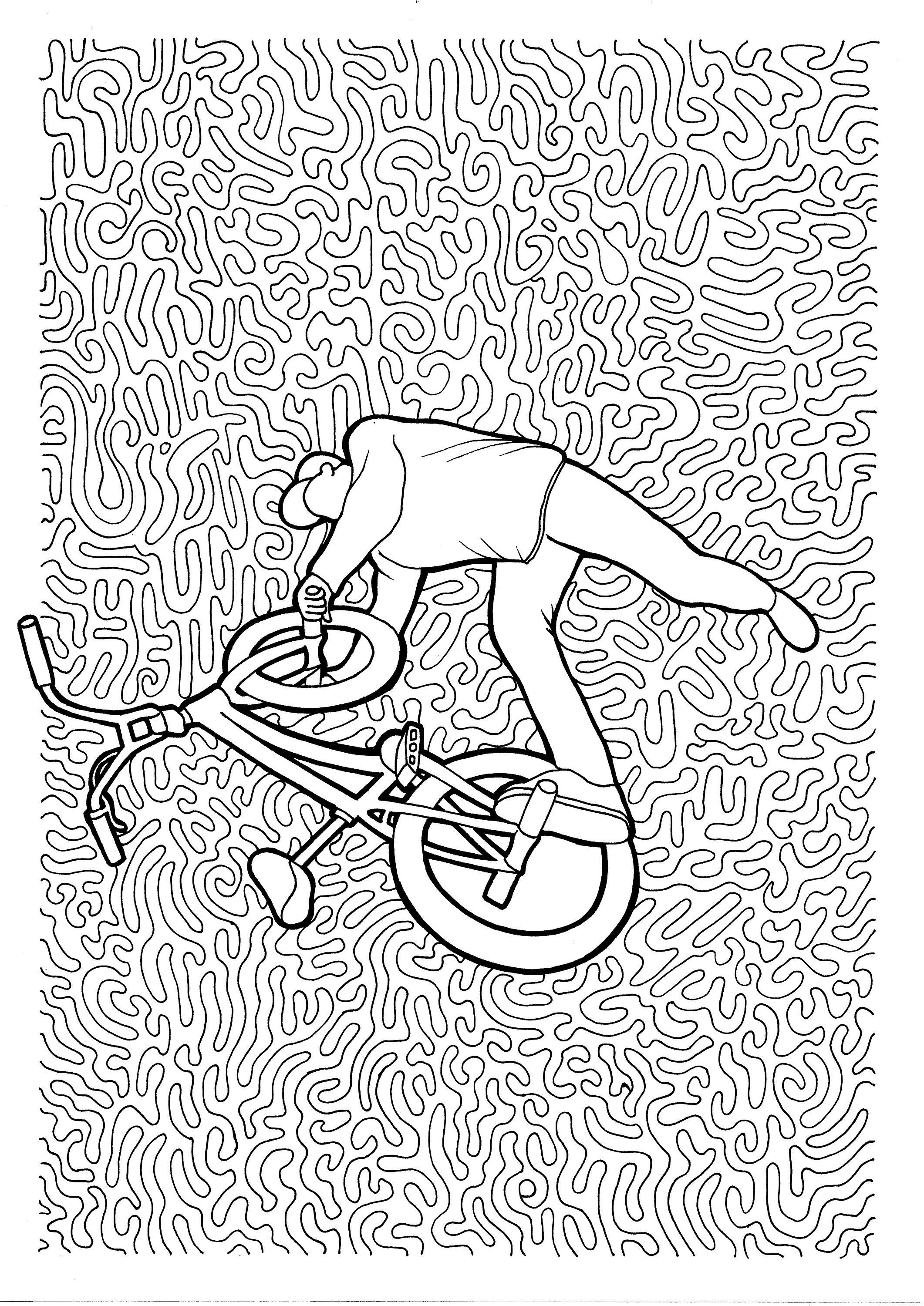 Upside Down Bmx Flatland Pdf Zentangle Coloring Page Bmx