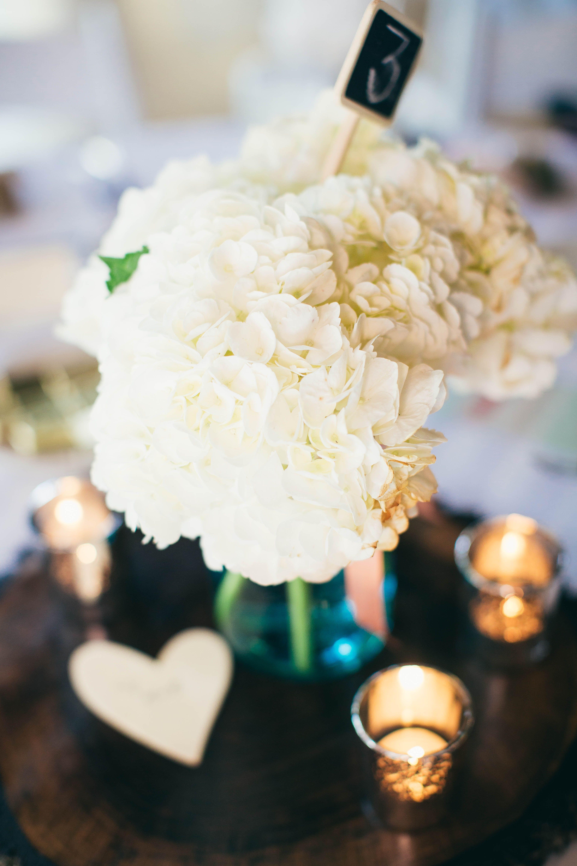 White Hydrangea Centerpiece with Candles | DIY Wedding Decor ...