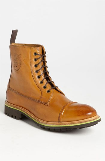 df1303112 Oliver Sweeney 'Spartan' Cap Toe Boot ($445), detailed stitching, burnished  leather set on aggressive lugged commando sole. Men's at Nordstrom.