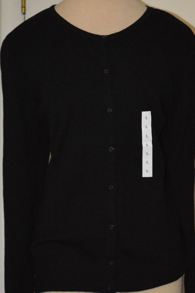 Ladies Croft & Barrow Black Long Sleeve Button Front Cardigan Sweater XS, L, 1X #CroftBarrow #Cardigan