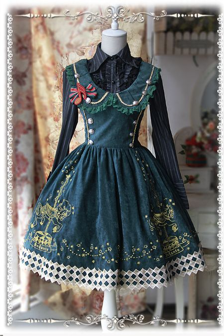 Infanta Carousel Embroidery Panne Velvet Lolita Collar Jumper Dress