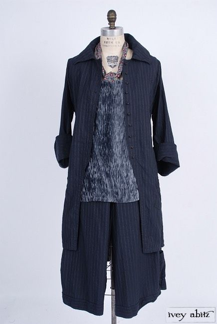Elsie Duster Coat in Lakeland Striped Weave. Limited Edition Cilla Camisole in Lakeland Crinkled Georgette. Highlands Sash in Spring Petite Fleur Cotton. Montague Trousers in Lakeland Striped Weave. By Ivey Abitz.