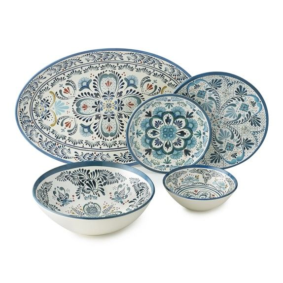 Veracruz Blue Melamine Dinnerware Collection Williams Sonoma