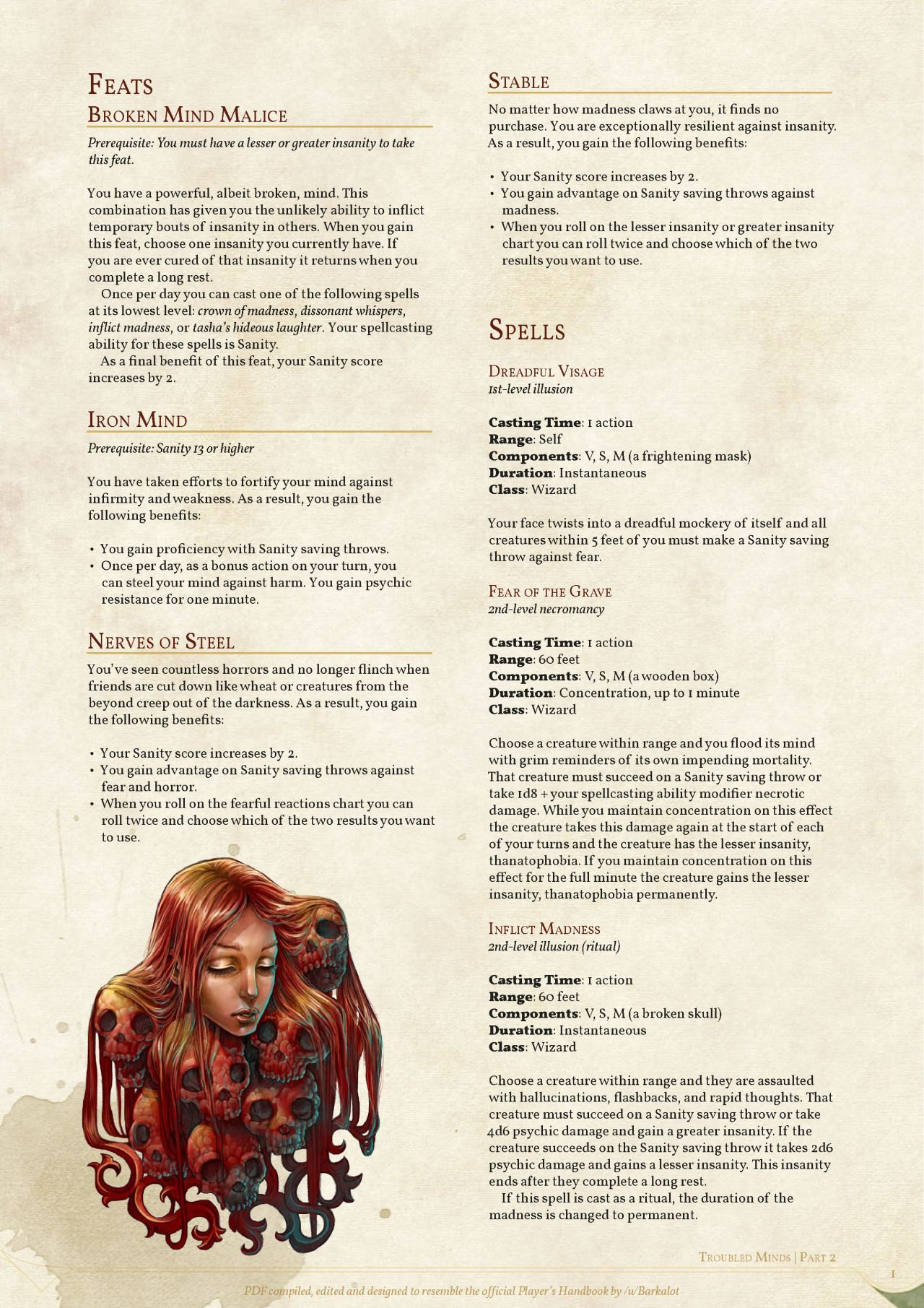 Troubled Minds: Feats & Spells by coolgamertagbro / Sterling Vermin