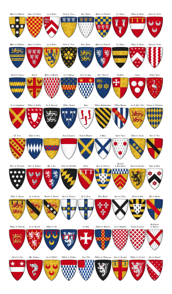 Charles Roll Panel 5 Shields 325 To 405 Heraldry Design Medieval Shields Coat Of Arms