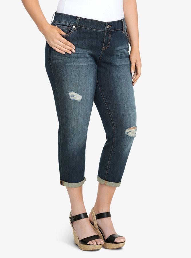 Plus Size Jeans - Plus SizeTorrid Ex-Boyfriend Jean - Dark Wash with Destruction