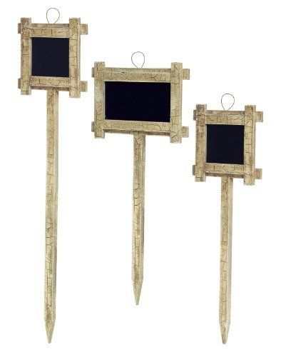 Melrose Pack Of 6 Country Rustic Distressed Wooden Framed Chalkboard Garden  Stakes Garden Accessories