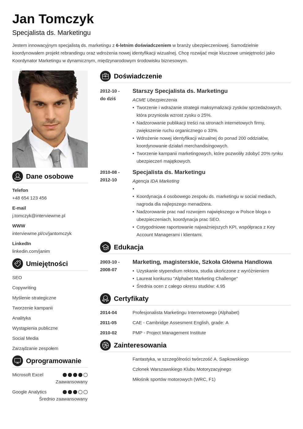 Kreator CV Stwórz i pobierz profesjonalne CV w 5 minut