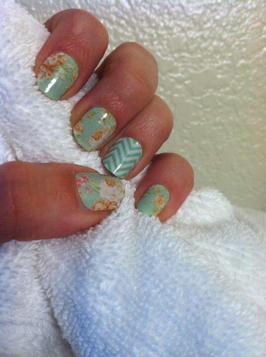 vintage chic and mint chevron nails nails pinterest