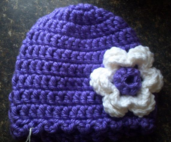 Crocheted Beanie Hat with Flower  Adult Size  by AlisCoffeeHouse, $23.95