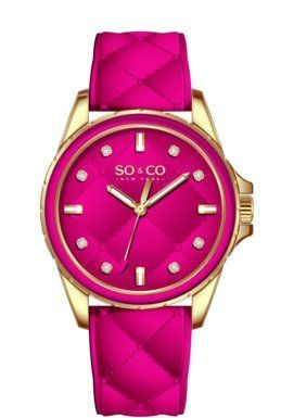 SO&CO New York Women's 5201.2 SoHo Analog Display Quartz Pink Watch  Gold-tone round case with pink bezel on a pink quilted design genuine leather strap Gold-tone round case with pink bezel on a pink quilted design genuine leather strap Pink quilted design dial with crystal markers Gold-tone round case with pink bezel on a pink quilted design genuine leather strap Gold-tone round case with pink bezel on a pink quilted design genuine leather strap Pink quilted design dial with crystal..