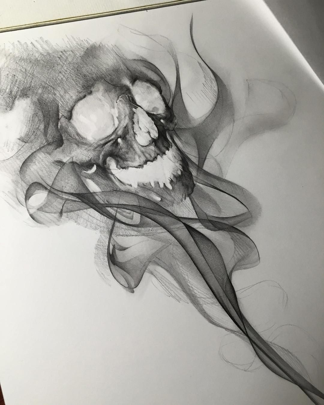 "Photo of Rey on Instagram: ""For everyone who waited, here's the last stage #smokeeffect #drawing #skull #freehand #nooutlines"""