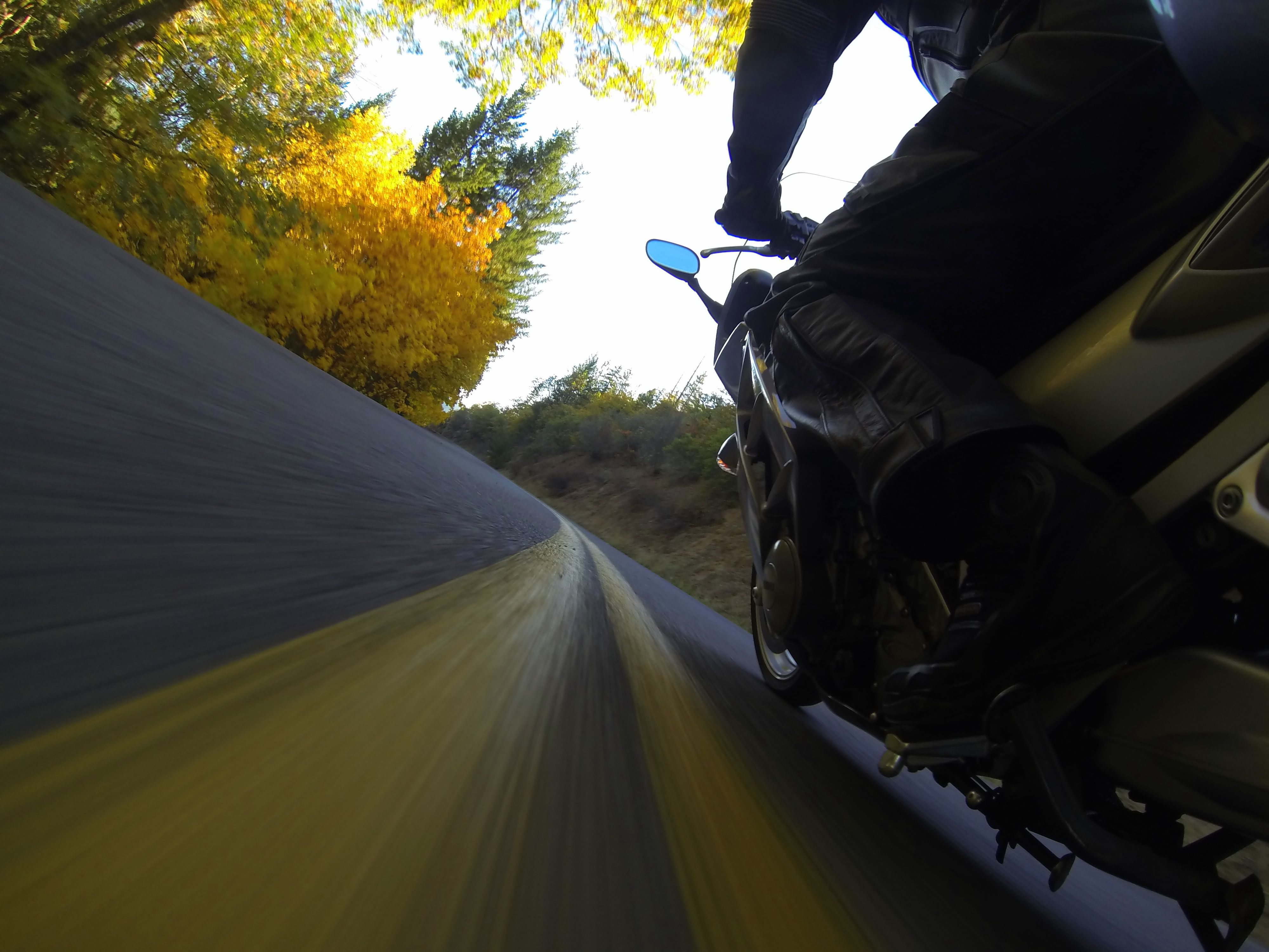 Photo by Jason Moore.  Shot with the GoPro Hero 3 Black.  Fall in southern Oregon onboard a 2004 Yamaha FJR 1300 ABS.