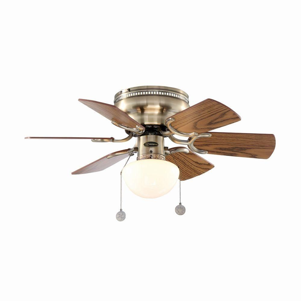 Hugger Flush Mount Petite 3 Speed Reversible 30 In Antique Brass Ceiling Fan Westinghouse Traditional Brass Ceiling Fan Ceiling Fan Ceiling