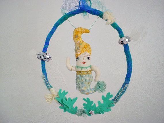 Mermaid cloth doll mobile