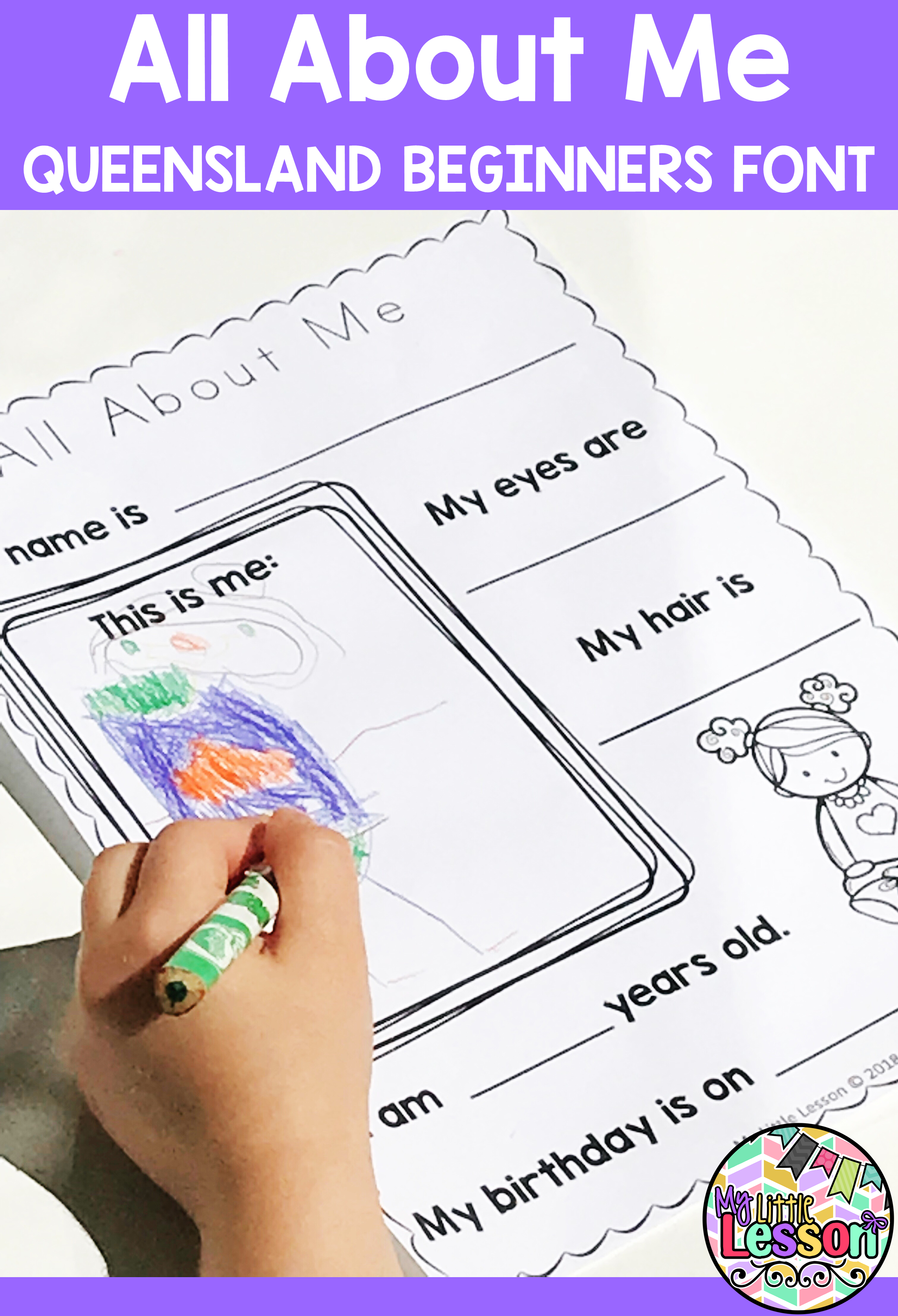All About Me Qld Beginners Font Worksheets Booklet
