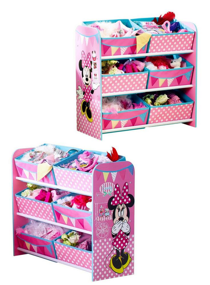 Werbung | Minnie Mouse Spielzeugregal in rosa. 6 Spielzeugkisten ...