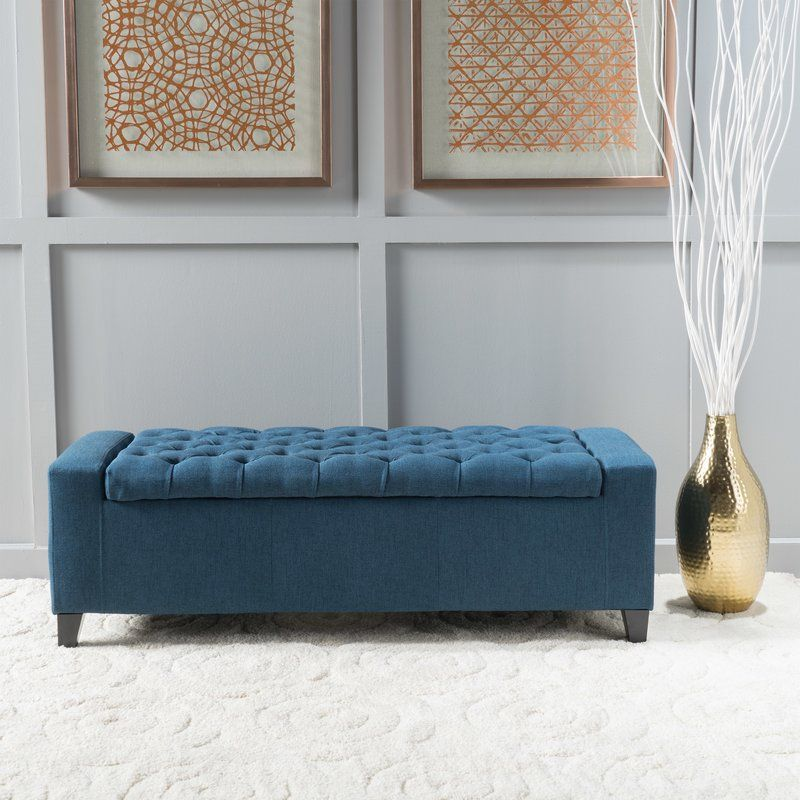 Ilchester Upholstered Flip Top Storage Bench Fabric Storage Ottoman Blue Storage Ottoman Upholstered Storage