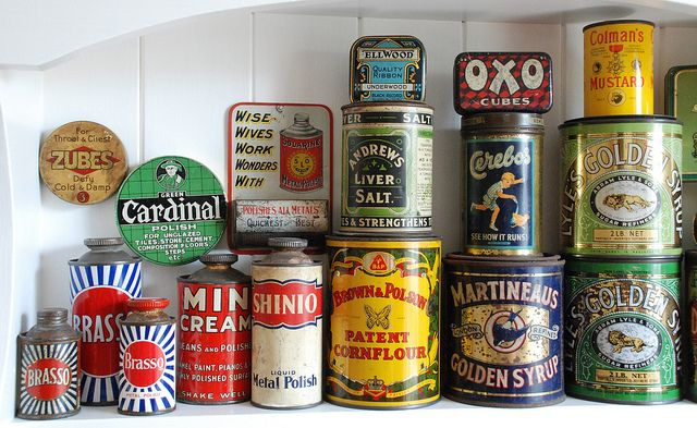 Collection of old tins