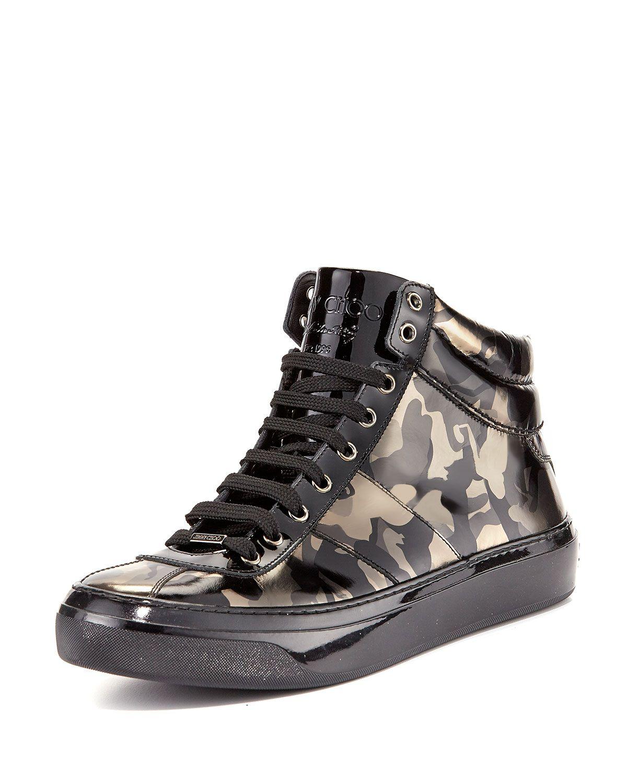 cb0c023164 Belgravi Men's Camo-Print Leather High-Top Sneaker, Black, Size: 44EU/11US  - Jimmy Choo