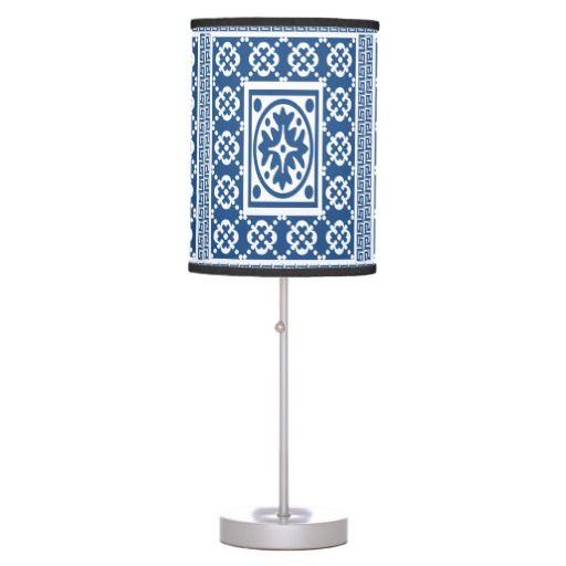White Ornate Greek Pattern Table Lamp